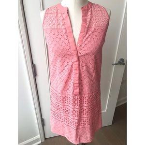 LOFT pink eyelet sleeveless dress size 0